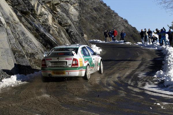 2003 FIA World Rally Championship. Monte Carlo, Monaco. Rd1.23-26 January 2003.Didier Auriol/Denis Giradet (Skoda Octavia WRC Evo3) 9th position.World Copyright: McKlein/LAT Photographic