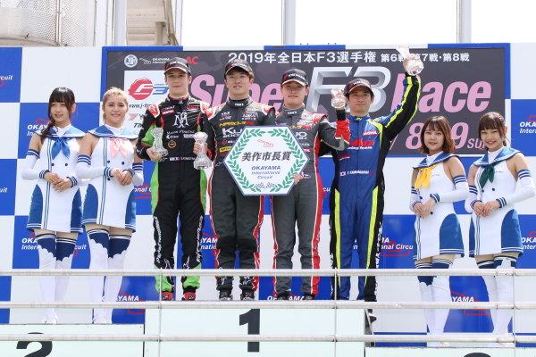 Round 7 podium. Winner Ritomo Miyata , Corolla Chukyo Kuo TOM'S Dallara F317 Toyota. Sacha Fenestraz, B-Max Racing with Motopark Dallara F314 Volkswagen, 2nd. Sena Sakaguchi, Corolla Chukyo Kuo TOM'S Dallara F317 Toyota, 3rd. Photo by Masahide Kamio