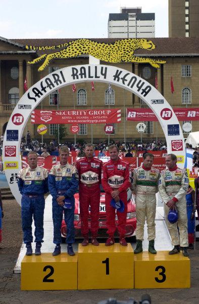 2001 World Rally Championship.Nairobi, Kenya. July 20-22, 2001Podium finishers.Photo: Ralph Hardwick/LAT