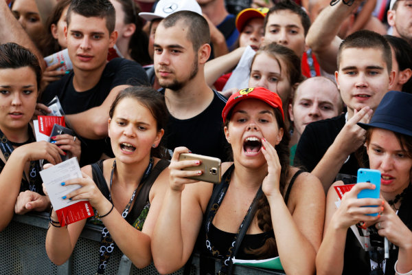 Hungaroring, Budapest, Hungary. Thursday 23 July 2015. Fans wait for autographs from the drivers. World Copyright: Charles Coates/LAT Photographic ref: Digital Image _J5R0768