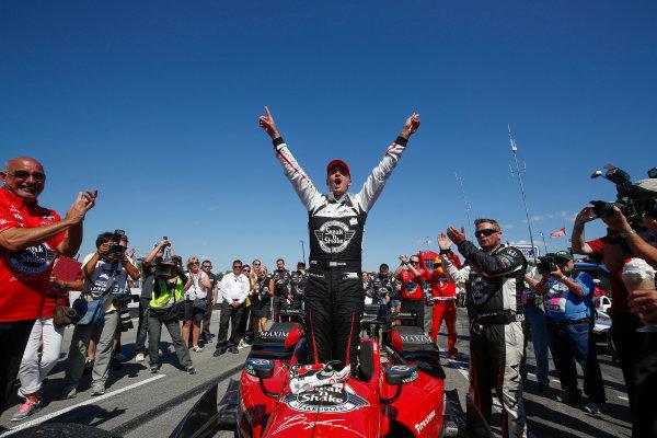 31 July - 2 August, 2015, Lexington, Ohio, USA Winner Graham Rahal celebrates in Victory Lane © 2015, Michael L. Levitt LAT Photo USA