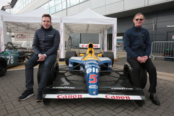 2017 Silverstone Classic Media Day. Silverstone, Northamptonshire. 23rd May 2017. Dickie Stanford and Jonathan Williams with the Williams FW14B. World Copyright: JEP/LAT Images.
