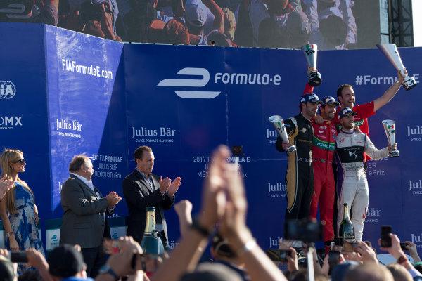 2016/2017 FIA Formula E Championship. Aut?dromo Hermanos Rodr?guez, Mexico City, Mexico Saturday 1 April 2017. Lucas Di Grassi (BRA), ABT Schaeffler Audi Sport, Spark-Abt Sportsline, ABT Schaeffler FE02, Jean-Eric Vergne (FRA), Techeetah, Spark-Renault, Renault Z.E 16. & Sam Bird (GBR), DS Virgin Racing, Spark-Citroen, Virgin DSV-02.  Photo: Alastair Staley/LAT/Formula E ref: Digital Image _L5R5549