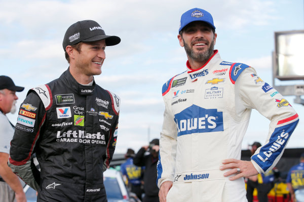 Monster Energy NASCAR Cup Series Coca-Cola 600 Charlotte Motor Speedway, Concord, NC USA Thursday 25 May 2017 Jimmie Johnson, Hendrick Motorsports, Lowe's Chevrolet SS Kasey Kahne, Hendrick Motorsports, Liftmaster Chevrolet SS World Copyright: Matthew T. Thacker LAT Images ref: Digital Image 17CLT2mt1171