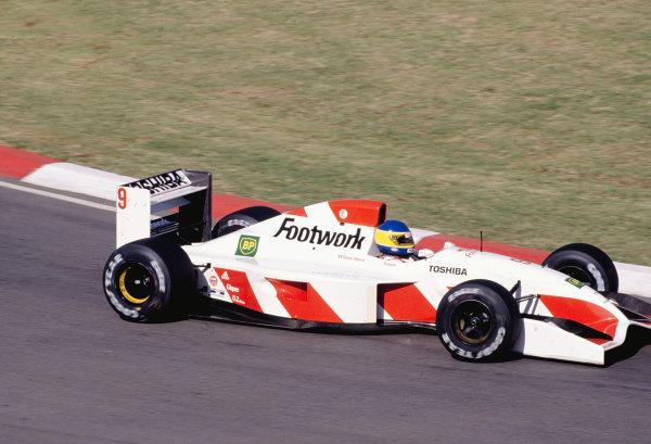 1992 South African Grand Prix.Kyalami, South Africa. 28/2-1/3 1992.Michele Alboreto (Footwork FA13 Mugen-Honda) 10th position.Ref-92 SA 30.World Copyright - LAT Photographic