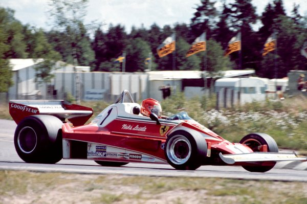 Anderstorp, Sweden. 11th - 13th June 1976. Niki Lauda (Ferrari 312 T2). 3rd position, action. World Copyright: LAT Photographic.ref: 35mm Transparency.