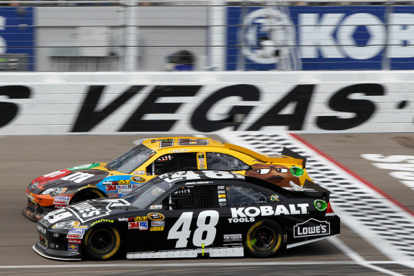 9-11 March, 2012, Las Vegas, NV USAJimmie Johnson and Kyle Busch battle for position(c)2012, Lesley Ann MillerLAT Photo USA