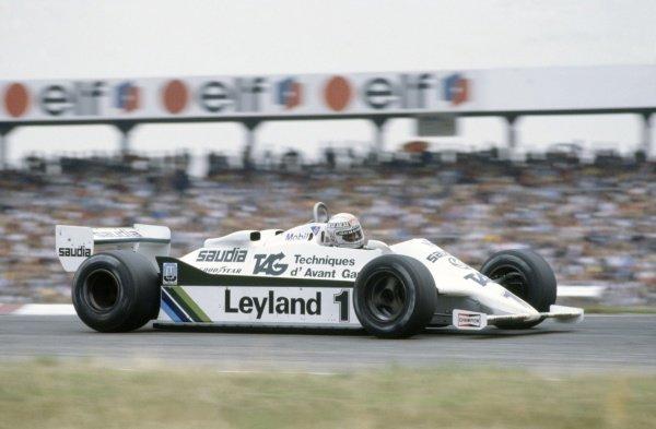 1981 German Grand Prix.Hockenheim, Germany. 31 July-2 August 1981.Alan Jones (Williams FW07C-Ford Cosworth), 11th position.World Copyright: LAT PhotographicRef: 35mm transparency 81GER09