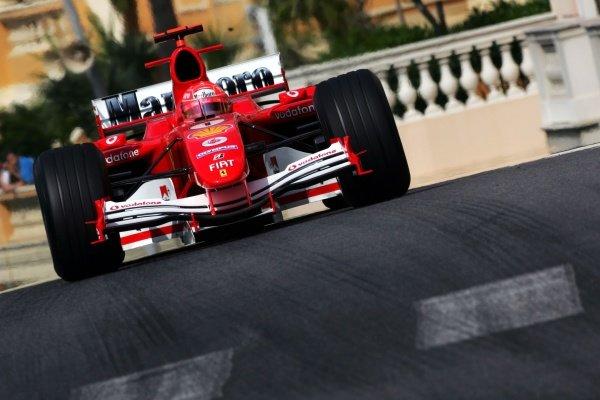 Michael Schumacher (GER) Ferrari F2005. Formula One World Championship, Rd6, Monaco Grand Prix, Race Day, Monte Carlo, Monaco, 22 May 2005. DIGITAL IMAGE