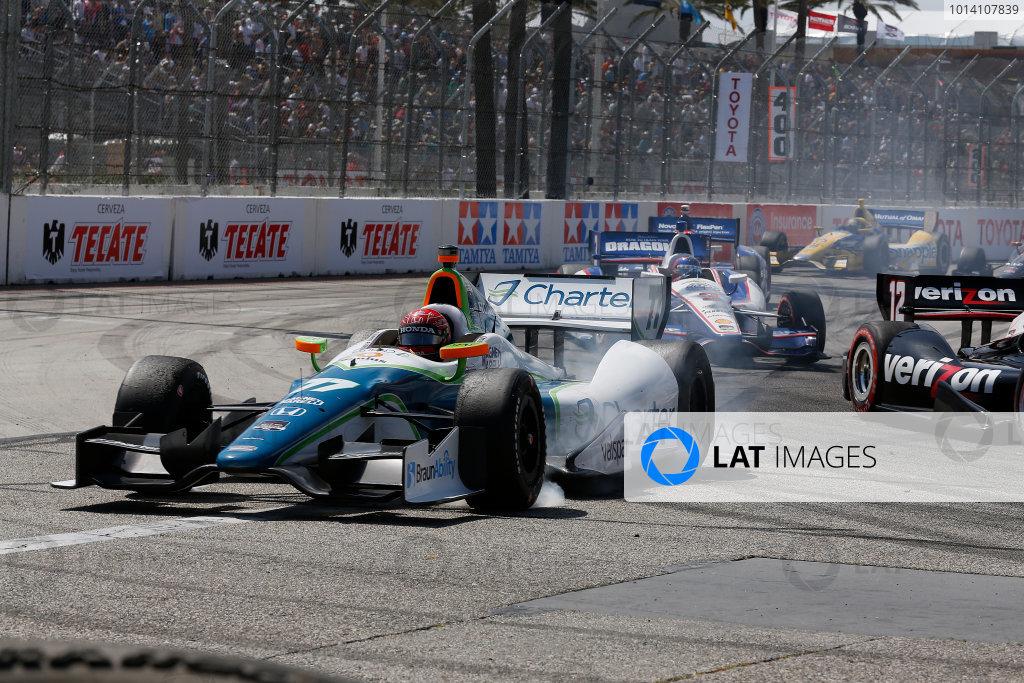 11-13 April, 2014, Long Beach, California, USA Simon Pagenaud Will Power crash © 2014, Michael L. Levitt LAT Photo USA