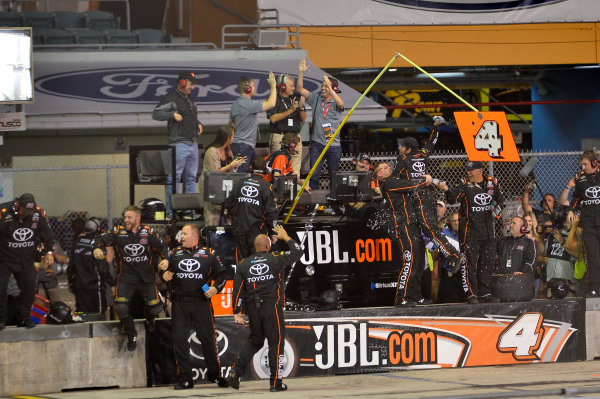 NASCAR Camping World Truck Series Ford EcoBoost 200 Homestead-Miami Speedway, Homestead, FL USA Friday 17 November 2017 Christopher Bell, JBL Toyota Tundra, celebrates after winning the 2017 NASCAR Camping World Truck Series Championship. World Copyright: John K Harrelson LAT Images