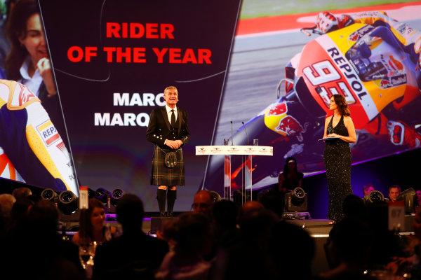 2017 Autosport Awards Grosvenor House Hotel, Park Lane, London. Sunday 3 December 2017. David Coulthard introduces the Rider of the Year Award. World Copyright: Joe Portlock/LAT Images Ref: Digital Image _o3i6963