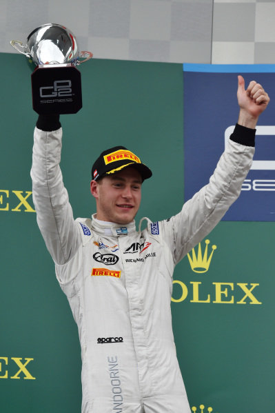 Race 2 second placed Stoffel Vandoorne (BEL) ART Grand Prix celebrates with the trophy on the podium at GP2 Series, Rd4, Spielberg, Austria, 19-21 June 2015.