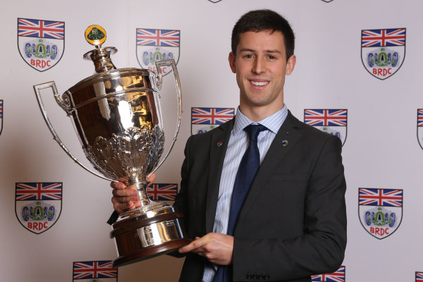 2014 BRDC Annual Awards The Grand Connaught Rooms, London, UK Monday 8 December 2014. Alexander Simms with the Colin Chapman Trophy. World Copyright: Ebrey/LAT Photographic. ref: Digital Image Sims-01