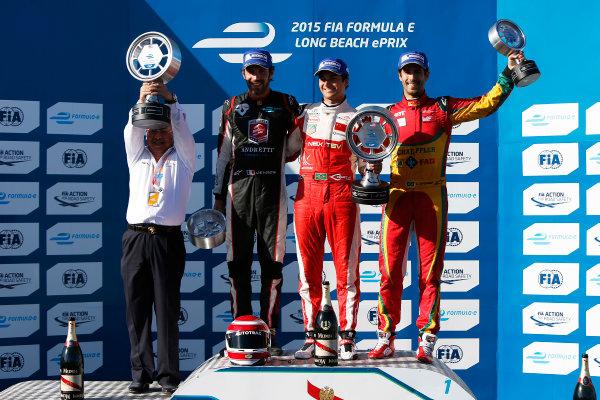 2014/2015 FIA Formula E Championship. Long Beach ePrix, Long Beach, California, United States of America. Sunday 5 April 2015 Podium. Nelson Piquet Jr (BRA)/China Racing - Spark-Renault SRT_01E, first, Jean-Eric Vergne (FRA)/Andretti Motorsport - Spark-Renault SRT_01E, second and Lucas di Grassi (BRA)/Audi Abt Sport - Spark-Renault SRT_01E, third. Photo: Zak Mauger/LAT/Formula E ref: Digital Image _L0U8716
