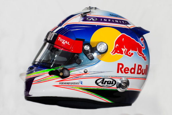 Circuito de Jerez, Jerez, Spain. Tuesday 3 February 2015. Helmet of Daniel Ricciardo, Red Bull Racing.  World Copyright: Red Bull Racing (Copyright Free FOR EDITORIAL USE ONLY) ref: Digital Image 2015_RED_BULL_HELMET_16