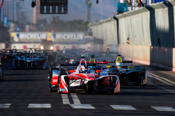 2016/2017 FIA Formula E Championship. Marrakesh ePrix, Circuit International Automobile Moulay El Hassan, Marrakesh, Morocco. Felix Rosenqvist (SWE), Mahindra Racing, Spark-Mahindra, Mahindra M3ELECTRO. leads Sam Bird (GBR), DS Virgin Racing, Spark-Citroen, Virgin DSV-02. & Nelson Piquet (BRA), NextEV NIO, Spark-NEXTEV, NEXTEV TCR Formula 002 at the start Saturday 12 November 2016. Photo: Sam Bloxham/LAT/Formula E ref: Digital Image _SLA8141