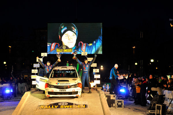 Round 02 - Rally Sweden 09-12 February 2012. Anders Grondal, T Svendsen, Subaru PWRC, Podium.  Worldwide Copyright: McKlein/LAT