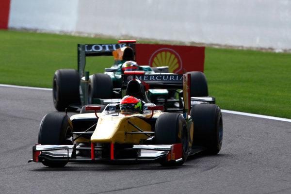 Spa - Francorchamps, Spa, Belgium. 28th August. Sunday Race. Romain Grosjean (FRA, Dams) leads Jules Bianchi (FRA,Lotus ART). Action. Photo: Alastair Staley/GP2 Media Service. Ref: AS5D4389 jpg