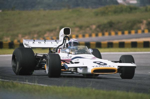 1973 Brazilian Grand Prix.  Interlagos, Sao Paulo, Brazil. 9-11th February 1973.  Peter Revson, McLaren M19A Ford.  Ref: 73BRA52. World Copyright: LAT Photographic