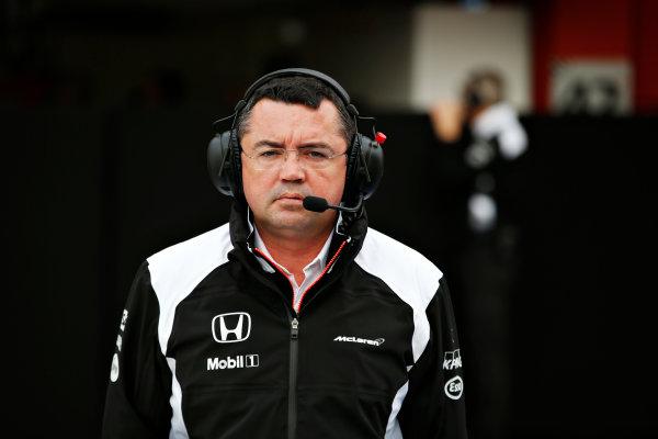 Circuit de Catalunya, Barcelona, Spain Monday 22 February 2016. Eric Boullier, Racing Director, McLaren. World Copyright: Steven Tee/LAT Photographic ref: Digital Image _L4R7051