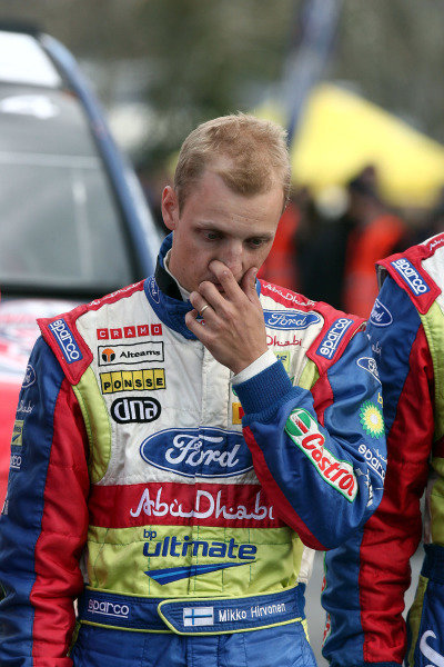 Mikko Hirvonen (FIN), Ford, in deep thought after suffering a puncture and spin on stage 15. By doing so he handed the rally victory to Sebastien Loeb (FRA) and possibly both WRC titles to Citroen come the end of the season.FIA World Rally Championship, Rd11, Repco Rally New Zealand, Day Three, Sunday 31 August 2008.