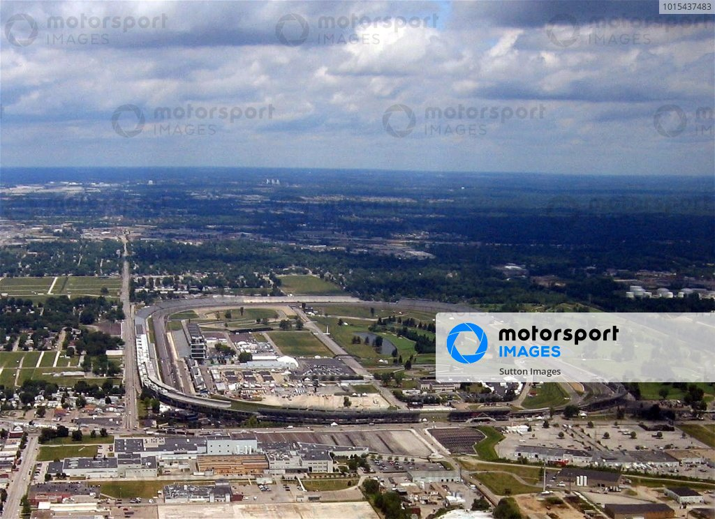 An aerial view of the Indianapolis Motor Speedway.Indianapolis Motor Speedway, Indianapolis, Indiana, USA. 15 June 2005.DIGITAL IMAGE