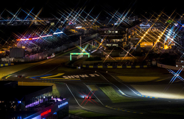 2016 Le Mans 24 Hours. Circuit de la Sarthe, Le Mans, France. Sunday 19 June 2016. A view of the Ford Chicane and start/finish straight during the race. World Copyright: Zak Mauger/LAT Photographic ref: Digital Image _79P8416