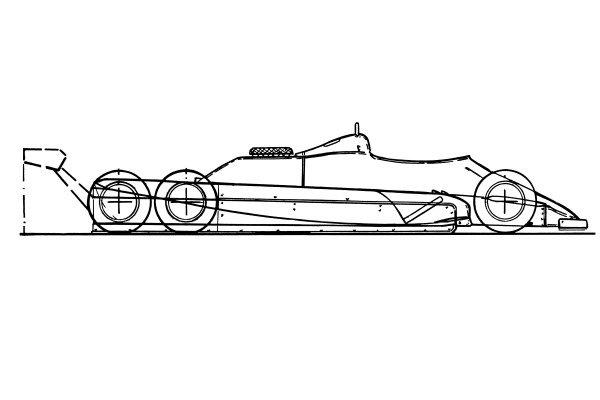 Williams FW08B 1982 six wheeler schematic view