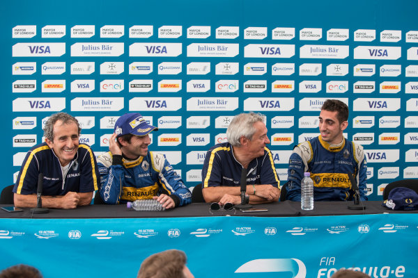 2015/2016 FIA Formula E Championship. London ePrix, Battersea Park, London, United Kingdom. Sunday 3 July 2016. Sebastien Buemi (SUI), Renault e.Dams Z.E.15 and Nicolas Prost (FRA), Renault e.Dams Z.E.15 post race press conference. Photo: Andrew Ferraro/LAT/Formula E ref: Digital Image _FER7669
