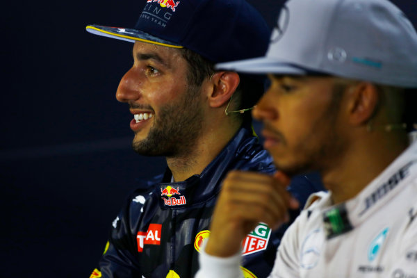 Hockenheim, Germany. Sunday 31 July 2016. Daniel Ricciardo, Red Bull Racing, with Lewis Hamilton, Mercedes AMG, in the post-race press conference. World Copyright: LAT Photographic ref: Digital Image _ONY1434