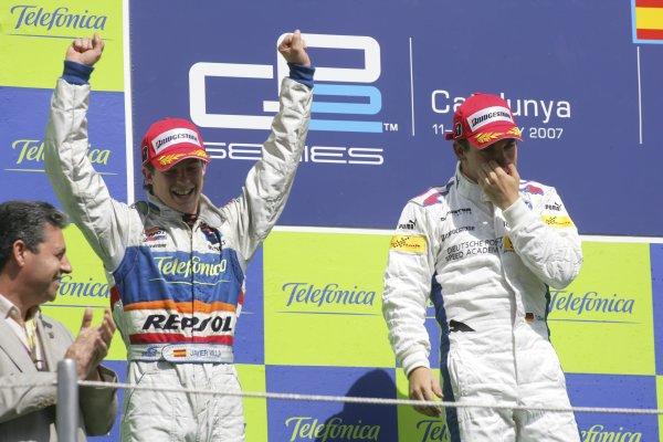 2007 GP2 Series. Round 2. Sunday RaceBarcelona, Spain. 13th May 2007. Timo Glock (GER, iSport International) celebrates victory with Javier Villa (ESP, Racing Engineering). Action. World Copyright: Andrew Ferraro/GP2 Series Media Sevice  ref: Digital Image ZP9O7163