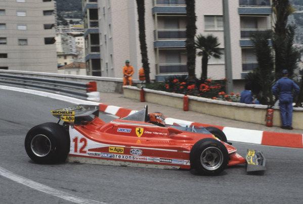 Monte Carlo, Monaco. 27 May 1979.Gilles Villeneuve (Ferrari 312T4) retired, action. World Copyright: LAT PhotographicRef: 79MON37