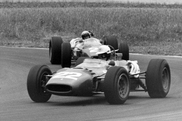 1966 French Grand Prix.Reims, France. 3 July 1966.Michael Parkes, Ferrari 312, 2nd position, leads Lorenzo Bandini, Ferrari 312, not classified, action.World Copyright: LAT Photographic