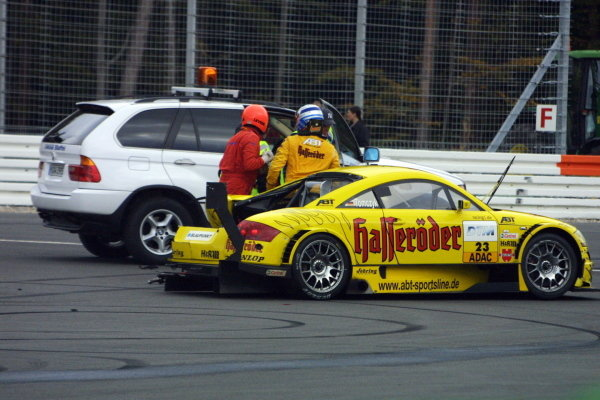 Marin Tomczyk (GER), Team Abt Sportsline Junior Audi TT, had a big backwards collision with Bernd Maylander (GER), Oase AMG-Mercedes.