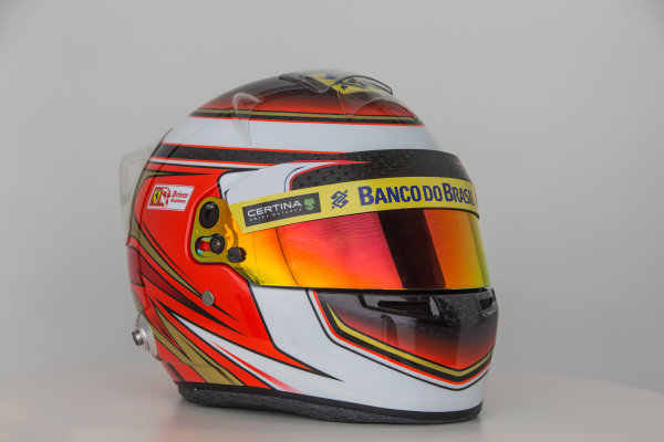 Hinwil, Switzerland. Thursday 29 January 2015. Helmet of Raffaele Marciello, Test and Reserve Driver, Sauber.  World Copyright: Sauber F1 Team (Copyright Free FOR EDITORIAL USE ONLY) ref: Digital Image 2015_SAUBER_HELMET_15