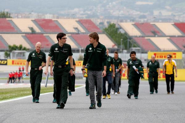 Circuit de Catalunya, Barcelona, Spain 9th May 2013 Charles Pic, Caterham F1, and Caterham team mates walk the track. World Copyright: Charles Coates/LAT Photographic ref: Digital Image _N7T7623