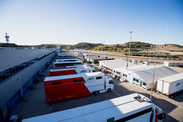 2017 GP3 Series Round 7.  Circuito de Jerez, Jerez, Spain. Thursday 5 October 2017. A view of the paddock. Photo: Zak Mauger/GP3 Series Media Service. ref: Digital Image _56I3771