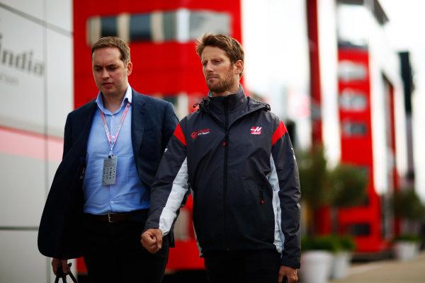 Silverstone, Northamptonshire, UK.  Friday 14 July 2017. Romain Grosjean, Haas F1. World Copyright: Hone/LAT Images  ref: Digital Image _ONY6406