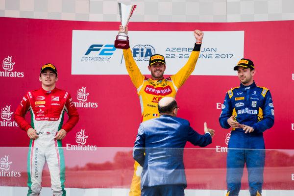 2017 FIA Formula 2 Round 4. Baku City Circuit, Baku, Azerbaijan. Sunday 25 June 2017. Charles Leclerc (MCO, PREMA Racing), Norman Nato (FRA, Pertamina Arden) and Nicholas Latifi (CAN, DAMS)  Photo: Zak Mauger/FIA Formula 2. ref: Digital Image _56I8615