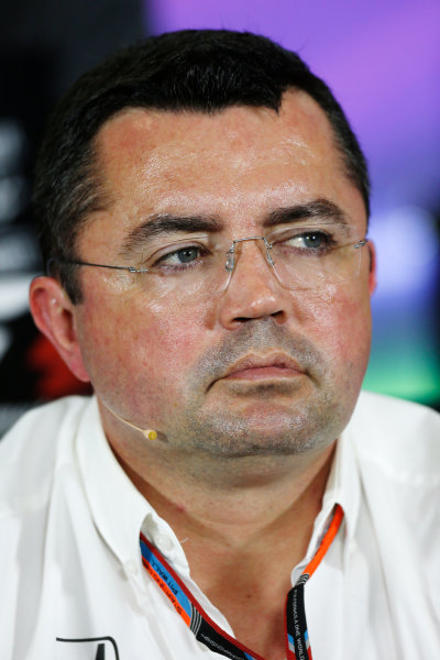 Silverstone Circuit, Northamptonshire, England. Friday 3 July 2015. Eric Boullier, Racing Director, McLaren, in the Team Principals Press Conference. World Copyright: Andrew Ferraro/LAT Photographic ref: Digital Image _FER2026