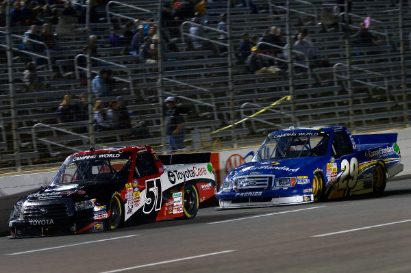 October 31-November 01, 2013, Fort Worth, Texas USA Kyle Busch and Ryan Blaney truck © 2013, Brian Czobat LAT Photo USA