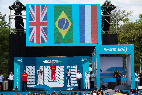 2015/2016 FIA Formula E Championship. Putrajaya ePrix, Putrajaya, Malaysia. Saturday 7 November 2015. Podium Lucas Di Grassi (BRA), ABT Audi Sport FE01, Sam Bird (GBR), DS Virgin Racing DSV-01 & Robin Frijns (NLD), Andretti - Spark SRT_01E on the podium Photo: Sam Bloxham/FIA Formula E/LAT ref: Digital Image _SBL1265