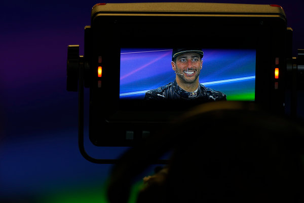 Circuit of the Americas, Austin Texas, USA. Sunday 23 October 2016. Daniel Ricciardo, Red Bull Racing, 3rd Position, in the Press Conference, viewed through a monitor. World Copyright: Sam Bloxham/LAT Photographic ref: Digital Image _SBB2087