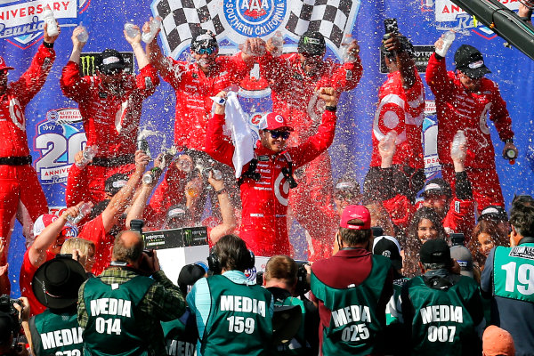 2017 Monster Energy NASCAR Cup Series Auto Club 400 Auto Club Speedway, Fontana, CA USA Sunday 26 March 2017 Kyle Larson celebrates in victory lane  World Copyright: Russell LaBounty/LAT Images ref: Digital Image 17FON1rl_5750