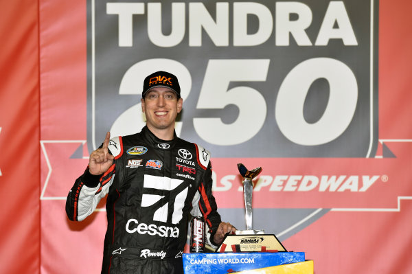 NASCAR Camping World Truck Series Toyota Tundra 250 Kansas Speedway, Kansas City, KS USA Friday 12 May 2017 Kyle Busch, Cessna Toyota Tundra celebrates his win in Victory Lane World Copyright: Nigel Kinrade LAT Images ref: Digital Image 17KAN1nk07195