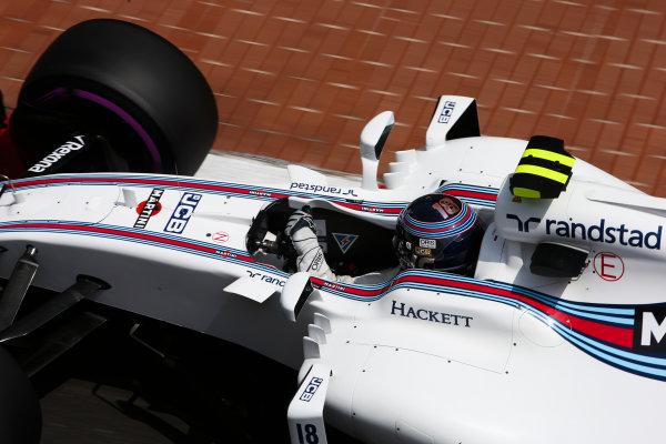 Monte Carlo, Monaco. Thursday 25 May 2017. Lance Stroll, Williams FW40 Mercedes. World Copyright: Charles Coates/LAT Images ref: Digital Image DJ5R5276
