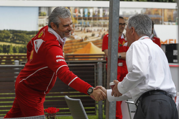 Maurizio Arrivabene (ITA) Ferrari Team Principal and Chase Carey (USA) Chief Executive Officer and Executive Chairman of the Formula One Group at Formula One World Championship, Rd1, Australian Grand Prix, Race, Albert Park, Melbourne, Australia, Sunday 26 March 2017.