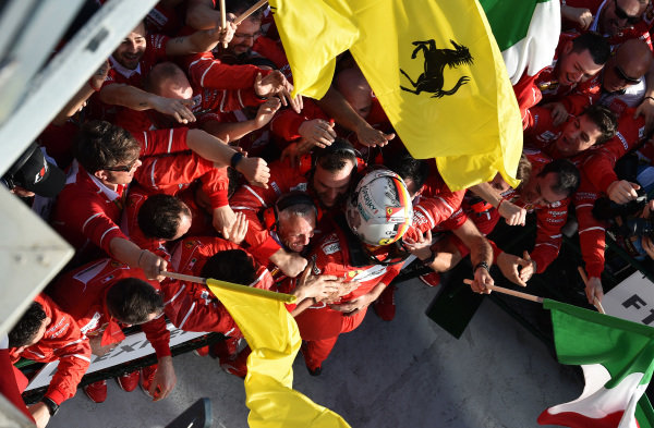 Race winner Sebastian Vettel (GER) Ferrari celebrates in parc ferme at Formula One World Championship, Rd1, Australian Grand Prix, Race, Albert Park, Melbourne, Australia, Sunday 26 March 2017.