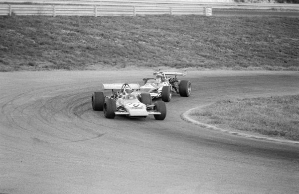 Gerry Birrell, Lotus 69 Ford, leads Jean-Pierre Jaussaud, March 712M Ford.